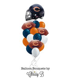 Chicago Bears Balloon Bouquet with Giant Helmet Mylar Balloon and Football Balloons - NFL Football Party, Tailgate Party, Superbowl