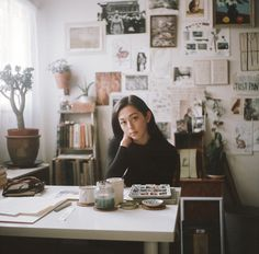 Portrait of artist Lily Seika Jones in her Seattle studio. Shot on Kodak Portra400 with a YashicaMat124G.