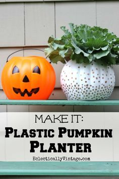 Plastic #Pumpkin Planter - great ideas to transform ugly plastic pumpkins! eclecticallyvintage.com