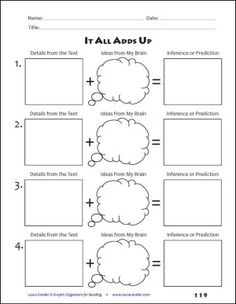 Students add what they know to details from the text to make an inference or prediction. One of dozens of printables in Graphic Organizers for Reading: Teaching Tools Aligned with the Common Core Reading Lessons, Reading Resources, Reading Strategies, Reading Skills, Teaching Reading, Reading Comprehension, Comprehension Strategies, Reading Activities, Guided Reading
