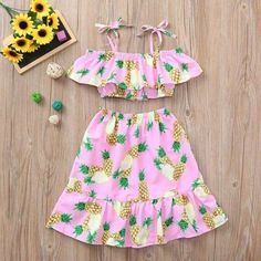 Summer Toddler Girl Pink Pineapple Printed Dress – Outfit Ideas for Girls Girls Summer Outfits, Little Girl Outfits, Toddler Girl Outfits, Toddler Dress, Kids Outfits, Girls Dresses, Summer Clothes, Toddler Summer Dresses, Hawaiian Sundress