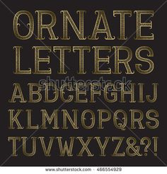Golden ornate capital #letters with tendrils. Decorative patterned vintage #font. Isolated latin #alphabet.