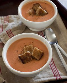 Tomato Soup with Grilled Cheese Croutons - The Official Cat Cora Website and Blog