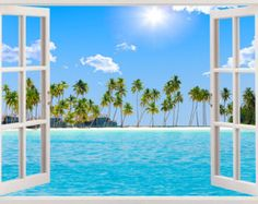 Beach wall decal window, tropical beach wall art palm tree design, beach wall sticker for nursery children baby kid home decoration Beach Wall Decals, Nursery Wall Stickers, Beach Wall Art, Window View, Window Wall, Window Poster, Art Mural, Wall Murals, Palm Trees Beach