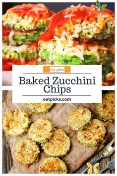 Baked Zucchini Chips Zucchini Parm Stacks are made with fresh zucchini squash sliced into discs and baked with sauce, bread crumbs, & cheese! A delicious healthy dinner! #zucchini #squash #zucchinirecipes #squash #summerdinnerrecipes #snacks #appetizers #vegetables #vegetarian #healthydinnerrecipes #healthyrecipes #summerrecipes #easyrecipe #bestrecipes #favoriterecipes #sidedish<br> Baked Dinner Recipes, Easy Appetizer Recipes, Snack Recipes, Appetizers, Snacks, Bake Zucchini, Zucchini Squash, Zucchini Chips, Bread Crumbs