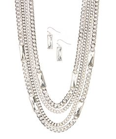 Another great find on #zulily! Silver & Crystal Chain Statement Necklace & Drop Earrings #zulilyfinds