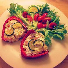 Zapečená paprika s cottage - rychlá, lehká a zdravá večeře :)