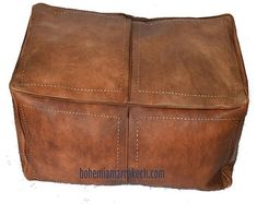 Bohemia Marrakech pouf leather Original by BohemiaMarrakechCom Leather Pouf Ottoman, Ottoman Footstool, Square Pouf, Square Ottoman, Moroccan Pouf, Moroccan Decor, Handmade Ottomans, Floor Pouf, Stitching Leather