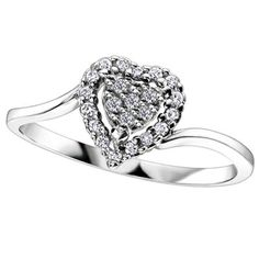 9ct White Gold Diamond Heart Cluster Ring 51Y04WG-4-10