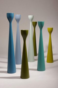 Blue and Green mixing fall colors of Rolf™ three sizes wooden candle holders by FREEMOVER Maria Lovisa Dahlberg