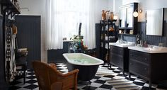 I so LOVE this bathroom from Ikea!!! I love black and white but would add a splash of color some where.