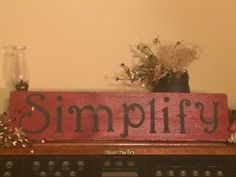 Simplify Primitive wooden sign by Chessyflowers on Etsy
