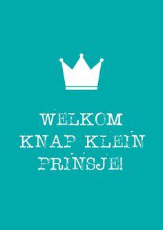 Kaartje Welkom knap klein prinsje! Ontwerp: byBean. Je shopt 'm hier: http://www.bybean.nl/welkomknapkleinprinsje