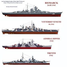 Axis major warships - 15 in battleships Bismarck and Vittorio Veneto compared, as with 8 in heavy cruisers Admiral Hipper and Trento.