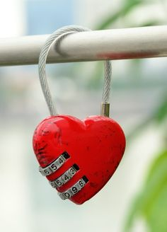 Lock with red heart shape