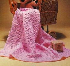 Pink Petals Baby Afghan | Use the crochet v-stitch to make this beaute!