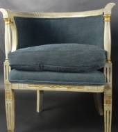 Pair of Mid 19thC French Tub Chairs Upholstered in Antique Hemp Linen in Seating from Fontaine