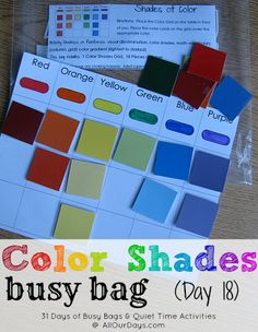 Color Shades Busy Bag (Day 18) 31 Days of Busy Bags & Quiet Time Activities @ AllOurDays.com