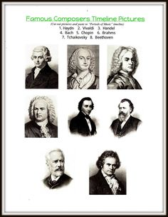 FREE Printable Worksheet and Timeline with a complete guide on how to introduce classical composers to your students.  Great for elementary age kids and perfect for the homeschool or traditional classroom!!