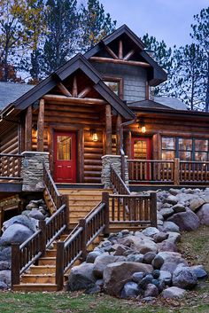 Log Home Photos | Nicolet Home Tour › Expedition Log Homes, LLC // love the outside but would hate the shoveling steps in the winter!
