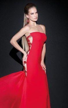 Embellished Bateau Neckline Gown by Tarik Ediz 92475