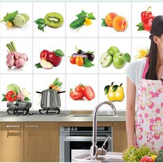 2017 New 3D DIY Vinyl Oil-proof Kitchen Wall Stickers Vegetable Fruit Poster Tile Mural Home Decoration Removable Wall Decals