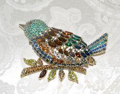 "New $230 HEIDI DAUS ""Marquise Madness"" Massive Bird Brooch Pin Topaz Emerald  | eBay"