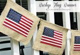 DIY banner : burlap, twine and inexpensive flags. Easy and inexpensive!