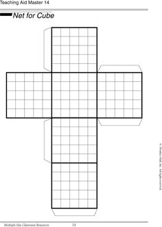 Use this net of a cube to find volume and surface area.