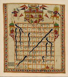 Rare Book Society of India Gyanbazi  Game Gujarat, India (or southern Rajasthan, made) Late 19th century or 20th century An early version of the familiar snakes- and- ladders board game, the quasi-religious game of gyan (jnana)- choupad or gyanbazi (game of knowledge) was popular with the Rajasthani courts in the eighteenth and nineteenth centuries, especially with the ladies. Played universally in India, it is available in Hindu, Muslim and Jain versions.