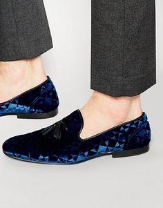 ASOS Tassel Loafers in Navy Diamond Velvet