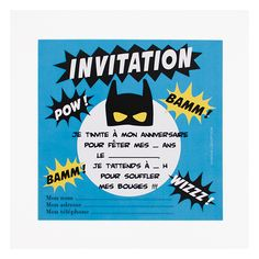 Invitations to invite your friends to your superhero-themed party. Perfect for a party between Batman, Superman and Ironman! Birthday Party Themes, Boy Birthday, Birthday Invitations, Carton Invitation, Invitation Cards, Boy Or Girl, Baby Boy, Diy Costumes, Diy For Kids
