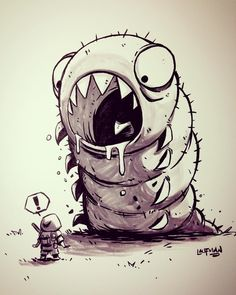 Day 20 - Ash encounters The Omega Sulgworm. Toying with the idea of a short comic prologue for our main character. by dereklaufman Cool Art Drawings, Art Drawings Sketches, Cartoon Drawings, Cartoon Art, Graffiti Doodles, Graffiti Art, Character Drawing, Character Design, Main Character