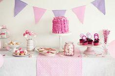 Chá de bebê menina - decoração de mesa - rosa e lilás
