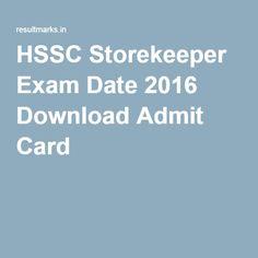 HSSC Storekeeper Exam Date 2016 Download Admit Card