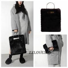 759675306c Luxury Large Black Faux Fur Bag Runway Tote Shopping Bag