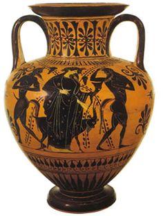 Un antico vaso etrusco dipinto con motivi legati all'uva e al vino