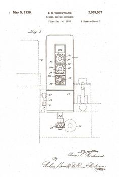 Elmer E. Woodward's diesel engine governor patent from 1933.