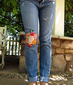 Hexie Love. . . Need to do this to my jeans before we hit the next music festival. . . hexie jeans by Jess @ stitched in thyme, via Flickr
