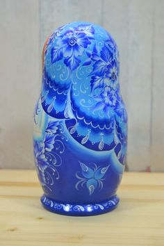 Nesting doll in blue and white design Wooden от BestRussianDolls