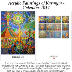 'Acrylic Paintings of Karmym - Calendar Kalender by karmym Calendar 2017, Art Calendar, Acrylic Paintings, Acrylic Art, Yoga Painting, Yoga Art, Yoga Inspiration, Something To Do, Artist