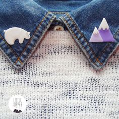 Polar Bear and Mountain Collar Brooch polymer by LittleDipperShop