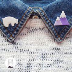 Polar Bear and Mountain Collar Brooch - polymer clay jewelry