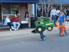 Nothing Runs Like a Cardboard Box John Deere Combine Costume in a a Halloween Parade!  (That was a mouthful)