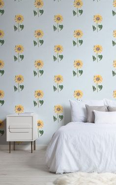 Vintage Sunflower Wallpaper Retro Style for Walls MuralsWallpaper Vintage Sunflower Wallpaper Retro Style for Walls MuralsWallpaper MuralsWallpaper muralswallpaper Floral Wallpaper Murals Welcome charming floral design into nbsp hellip Print Wallpaper, Room Wallpaper, Wallpaper Murals, Sunflower Room, Sunflower Print, Sunflower Wallpaper, Boho Room, Floral Wall, Decoration