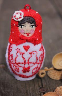 Matryoshka  Valentines Day Doll Hand by TheSnowQueensGarden, $24.50