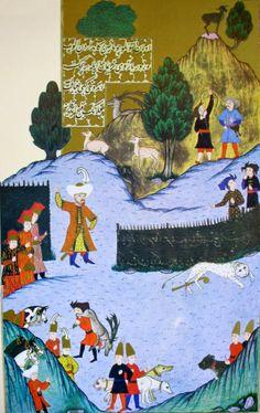 """Hünername'den nakkaş Osman çizimi ile """"1. Murat'ın altınlı bir çomak ile bir kaplanı vurması."""" minyatürü."""