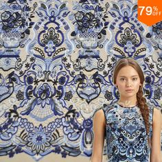 a basket of flowers Blue colorful embroid baroque lace flower embroidery fabric textile fabrics 2016 new custom curtain Material