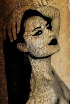8865016-old-rustic-orange-wall-with-a-graffiti-illustration-of-a-woman-s-face.jpg 801×1,200 pixels