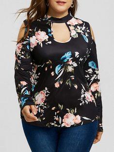 Floral Print Cold Shoulder Plus Size T-shirt